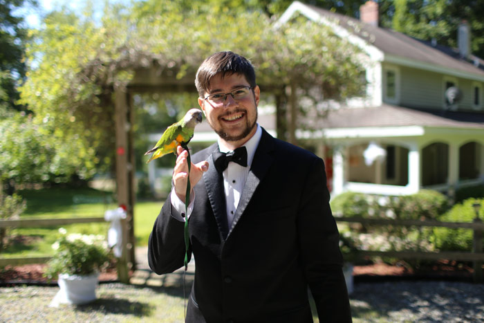 Groom with Senegal Parrot
